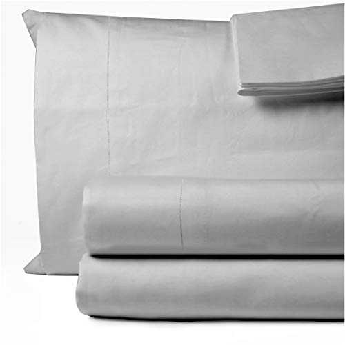 1000 Thread Count 100% Egyptian Cotton Bed Sheets King Size 4 Pc Silver Grey Sheet Set, Long Staple Cotton, Sateen Weave, Fits Mattress Upto 16