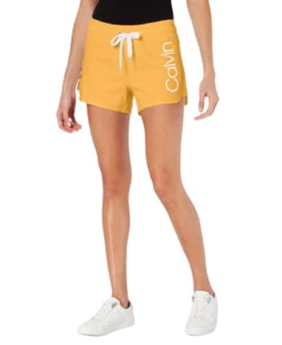 Calvin Klein Performance Logo Curved-Hem Shorts-XXL-Honey Gold