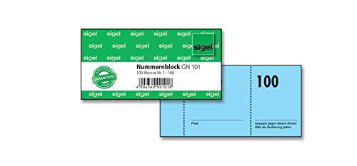 SIGEL GN101 nummerblok, 100 bons (nr. 1-100, 10,5 x 5 cm)