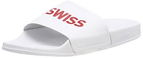 K-Swiss Unisex-Erwachsene K-Slide Badelatschen, Weiß (White/Fiery Red 149), 43 EU