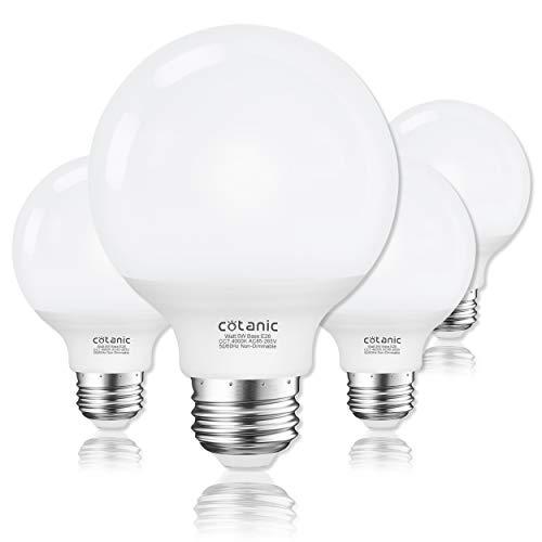 G25 LED Globe Light Bulbs,Cotanic 5W Vanity Light Bulb (60W Equivalent),Daylight 4000K,Non-dimmable Makeup Mirror Lights for Bedroom,Led Bathroom Light Bulbs,E26 Medium Screw Base,500lm,Pack of 4