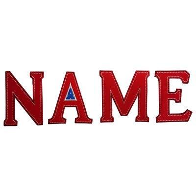 TrickyBoo 5 Buchstaben Aufbügler 5cm 1 Schultüte K R G Taufe T Personalisieren 2 mit N hellblau Jeans-Blaue Blaue Taufgeschenk J X Aufbügler Namen A 8 Aufnäher Gepunktete