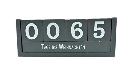 Countdown Würfel Holz 18,5 x 7 cm Tageszähler Grau