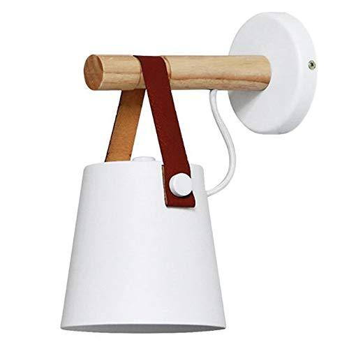 Atlnso - Lámpara de pared con interruptor, color blanco, diseño vintage industrial, casquillo E27, lámpara de pared de madera, para dormitorio, salón, porche, pasillo