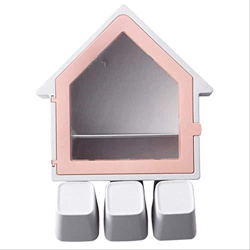 YTHX Seifenkiste Kreative Bad Kosmetik Lagerung Wandhalterung Zahnbürstenhalter Saugnapf Set Badezimmer AufbewahrungsboxRosa