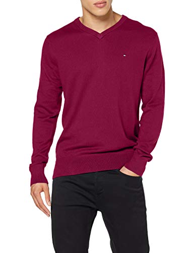 Tommy Hilfiger Pima Cotton Cashmere V Neck Maglione, Royal Magenta Heather, XL Uomo