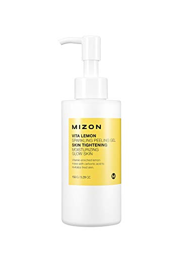 Mizon Vita Lemon Peeling Gel, Vitamin C, Lemon Peel Oil and Sparkling Water, Skin Tightening Moisturizing, Sparkling Water Peeling Gel to Restore Skin Vitality, Removes Dead Skin Cells, 150g