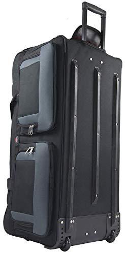 Amaro Extra Large Rolling Duffle Bag, Wheeled Travel Camping Bag, Black/Grey, 36 inch