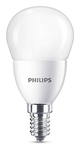 Philips bombilla LED esférica mate casquillo fino E14, 7 W equivalentes a 60 W en incandescencia, 806 lúmenes, luz blanca cálida