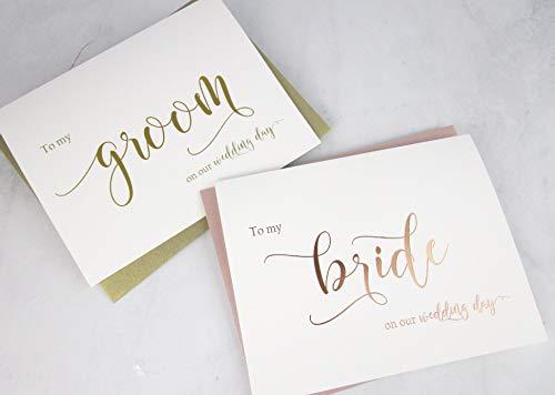 Juego de 2 tarjetas de felicitación de boda con sobres brillantes, papel de aluminio de oro rosa para mi novia en nuestra tarjeta de boda, lámina de oro para mi novio en nuestra tarjeta de día de boda