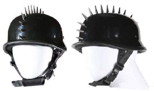 EXCELSIOR INT German Style Shiny Novelty Helmet with Spikes Size S,M,L,XL,2XL (S, Black)