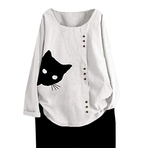 FRAUIT Damen Mode Leinen Blusen Katze Drucken Langarmshirt Knopf Große Größen Hemd Freizeit Tunika Oberteil Locker Hemd Shirts (T-Weiß, XXL)