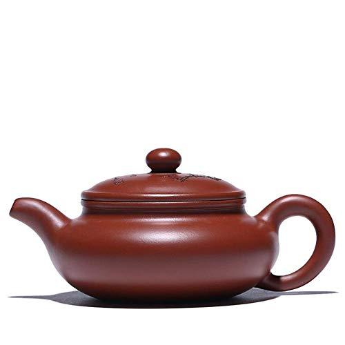 WEI-LUONG té Wang Dahongpao Tetera de Tambor Plano Grande de la Boca de la Tetera Pot Tapa Tallada Ciruela Juego de té Tetera