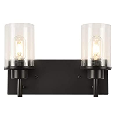 GOODYI 2-light Farmhouse Light Fixture,Vintage Industrial Black Sconces with Clear Glass Shade and Metal Base Rustic Accessories Light Fixture Bathroom Vanity Lights Hallway Lamp Sconces Wall Lighting
