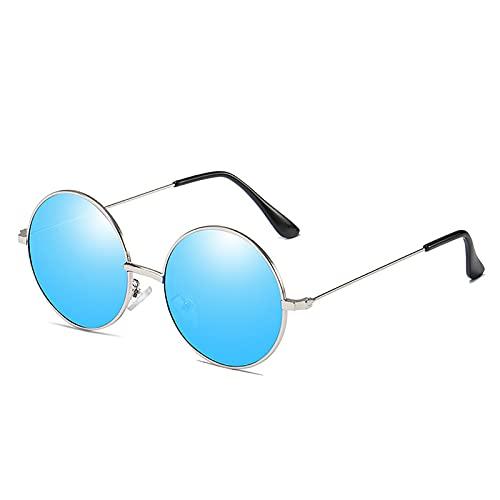 MOMAMOM Gafas De Sol Polarizadas Hombre Mujer Protección UV Antirreflejos Aire Libre Retro Unisex Metal Lentes Viaje Moda Estilo Vintage Actividades Exteriores Blue
