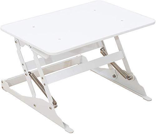 Mesa para Computadora Portátil De Pie Soporte De Escritorio para Computadora Soporte De Escritorio Plegable De Altura Ajustable Blanco, 60.5X40.5Cm