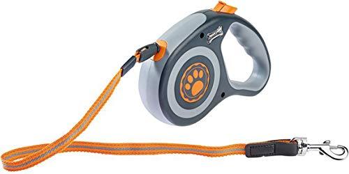 Zoofari Hundeleine Ausziehleine Rollleine Hunde Laufleine max 5 Meter Mit Aufrollfunktion Stopp und Arretierungstaste (Grau/Orange)