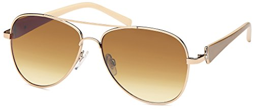 Balinco Damen Pilotenbrille Sonnenbrille mit Strass Steinen & lackierten Bügeln 70er Jahre Sunglasses Fliegerbrille (Light Brown/Brown)