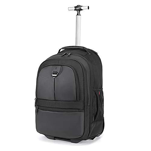 FGKING Wheeled Backpack, di rotolamento Scuola Impermeabile Laptop Bag Libro, Esterno Verticale Carry-On con/Hideaway Zaino Si Adatta 15.6 inch Laptop Perfetto per i Viaggi,Nero