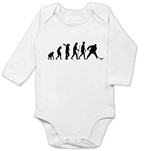 Shirtracer Evolution Baby - Eishockey Evolution - 3/6 Monate - Weiß - Eishockey Body - BZ30 - Baby Body Langarm