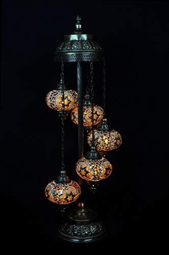 Lámpara de pie, diseño oriental, lámpara turca, 5 esferas, color marrón