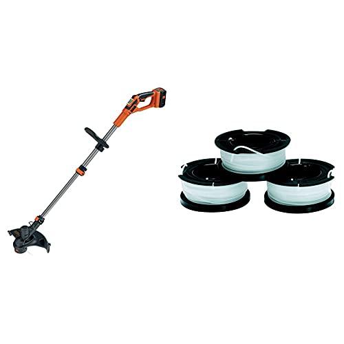 BLACK+DECKER GLC3630L20-QW Coupe-Bordures sans Fil - 2 Vitesses - 1 Batterie, 36V, Orange, 30 cm & A6485-XJ Lot Reflex 3 bobines de 10 mètres de Fil, Blanc, 1,5 mm