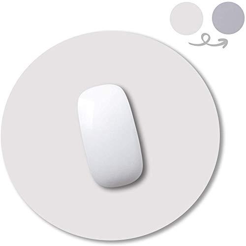 Anmete Tappetino per Il Mouse Pad in Pelle PU 250mm Antiscivolo Gaming Mousepad Tondo Double Sided Impermeabile Tappetino per Mouse Gioco Superficie Liscia Tappetini Mousepad Laptop PC Ufficio