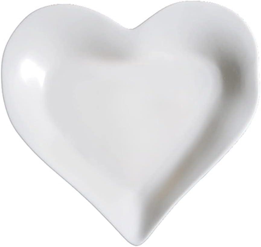 Mozacona White Ceramic Heart Max 45% OFF Shape Sa Dessert Virginia Beach Mall Dinner Plate