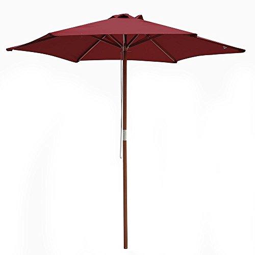 ReaseJoy 8ft(2.4m) Patio Parasol 6 Ribs Wood Garden Umbrella Outdoor Sun Shade Cafe Store Wedding Party Beach Red