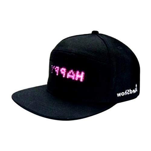 Mooyod - Gorra de béisbol Impermeable con Pantalla LED, Negro