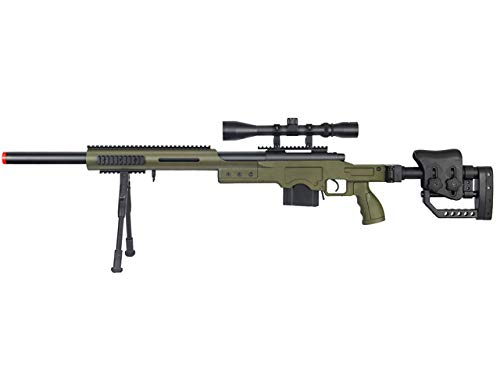 Well Full Metal MB4410 Airsoft Spring Sniper Rifle W/Scope and Bipod - OD Green