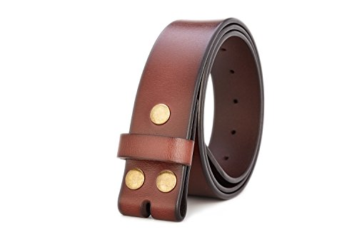Gurscour Men's Belts Genuine Leather Belt without Buckle 1.5' Brown with Copper Snap