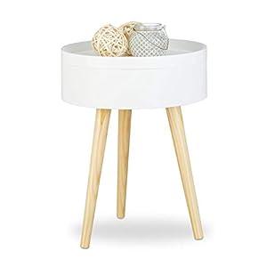 Moderno: tavolino da salotto rotondo con 3 gambe in legno - design scandinavo - HLP 50 x 38 x 38 cm Piccolo e compatto: comodino basso di colore bianco per tutti gli ambienti - posizionabile ovunque Vassoio: coperchio rimovibile si trasforma in un va...