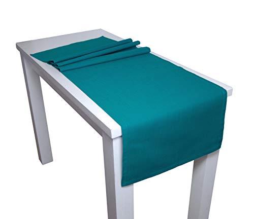 beties Farbenspiel Tischläufer ca. 40x150 cm Baumwoll-Serie in Uni (Petrol)