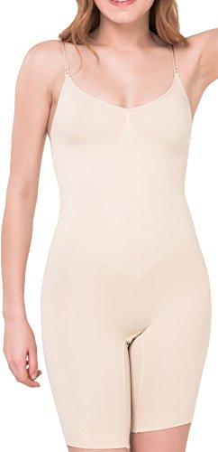 UnsichtBra Shapewear Damen Bauch Weg Body | Bauchweg Unterwäsche mit Korsett - Funktion | Bodyshaper für Frauen mit Bein in schwarz und beige (sw_2200)(M (40-46), Beige)