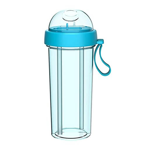 Nuevas botellas de agua de 420/600 ml, portátil, doble, paja, bebida separada, agua, bebida, botellas para parejas, China, verde 600 ml