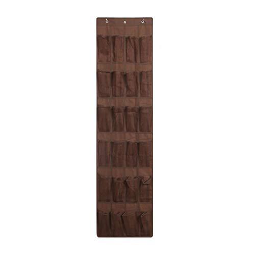 Bolsa de almacenamiento para puerta A/N, zapatero de malla, 24 aberturas de malla grandes con 3 ganchos de puerta, apto para pared de dormitorio (café)