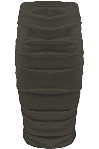 Womens Ladies Plain Stretchy Side Ruched Pencil Tube Bodycon Midi Length Skirt Khaki