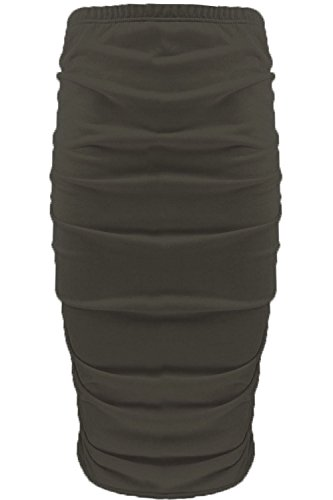 Womens Ladies Plain Stretchy Side Ruched Pencil Tube Bodycon Midi Length Skirt Khaki