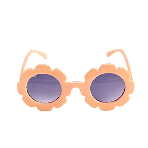 Carolilly Gafas de sol para niña con forma redonda de girasol, vintage, antiUV, para verano, para playa, fiestas, hawaianos, viajes, fotografía naranja. Talla única