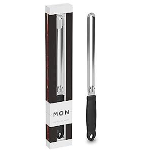 MON Cuchillo Jamonero Anticortes Profesional con Apertura de Doble Filo Seguro de Acero para Lonchas Finas - Fabricado en España