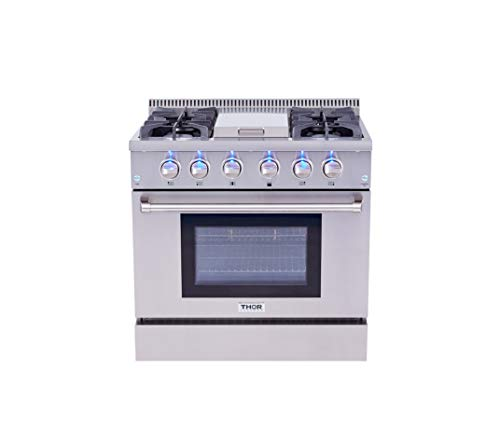 Thor Kitchen HRG3617U 36 in. Freestanding Professional Style Gas Range with 5.2 Cu. Ft. Oven, 4 Burners, Griddle, Convection Fan, Cast Iron Grates, & Blue Porcelain Oven Interior, In Stainless Steel