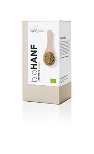 Hennep meel van gecontroleerde biologische teelt, inhoud 500 g, rijk aan omega-3-vetzuren.