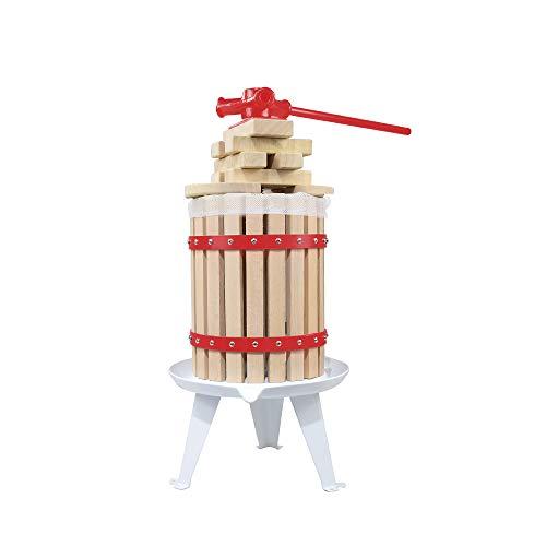 EJWOX 1.6 galones/3.2 galones/4.75 galones de madera maciza cesta de frutas y vino prensa manual
