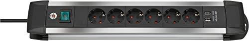 Brennenstuhl Premium-Alu-Line Steckdosenleiste 6-fach (Steckerleiste mit 3m Kabel und Schalter, mit Aufhänge-Vorrichtung, 2-fach USB 3,1 A, Made in Germany) schwarz/silber
