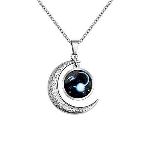 LEJAHAO Constelaciones Collar Capricornio Los Signos del Zodiaco Colgante Luna