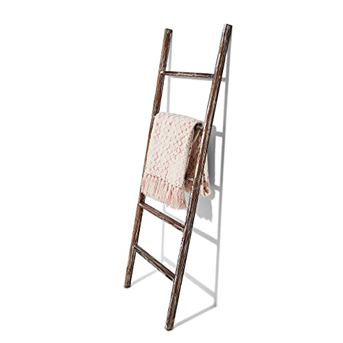 Adairyan Rustic Blanket Ladder - Dark Brown & White Distressed Stain - Smooth Coat - Throw Blanket Storage - Living Room Decor - Bathroom Towel Rack - Decorative Farmhouse Stand - Antique - 5 Foot