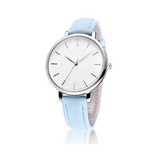 Wish Reloj de Mujer Reloj de Cuarzo de Moda Impermeable Casual Cinturón Simple Elegante Esfera Redonda Reloj de Pareja Reloj Delgado,A