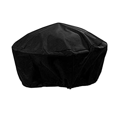 likeitwell Round Fire Pit Cover Waterproof Protective Weather Resistant Cover Garden Patio Outdoor Fire Bowl Cover with Drawstring, Black advantageous high Grade by likeitwell