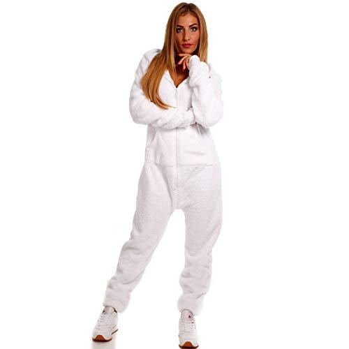 Teddyfleece Teddyfell Jumpsuit flauschig und kuschelig One Piece Overall warm (Weiß, XL)
